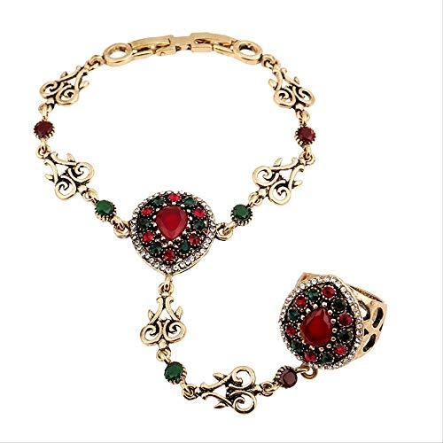 Braccialetti Schiavi con Ciondolo in Oro Antico della Boemia per Donne Bracciale Vintage con Strass Goccia d'Acqua Gioielli Etnici Turchi