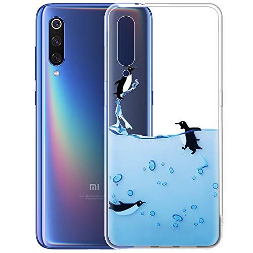 ZhuoFan Funda Xiaomi Mi 9, Cárcasa Silicona Transparente con Dibujos Diseño Suave TPU Antigolpes de Protector Piel Case Cover Bumper Fundas para Movil Xiaomi Mi9 2019 6,39 Pulgada, Pingüinos