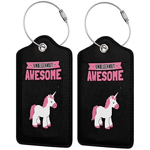 Pu Leather Luggage Tags, Translator Suitcase Id Tags Travel Bag Label With Full Back Privacy Cover Stainless Steel Loop For Men Women Set Of 2pcs