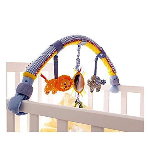 Morbuy Cama de música para bebé Colgantes y Cunas Decoraciones de Buggy con Arco de Doble Uso de suspensión Incluyen Squeak / Sonajero / Mordedor (Elefante y león)