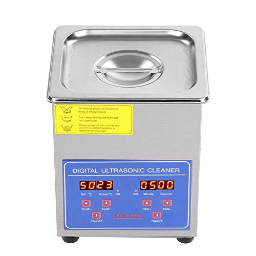 Ultrasonic Cleaner 2L Ultrasonic Jewelry Cleaner Stainless Steel Professional Ultrasonic Jewelry Parts Glasses Watch Cleaner with Timer Digital Heating Silver