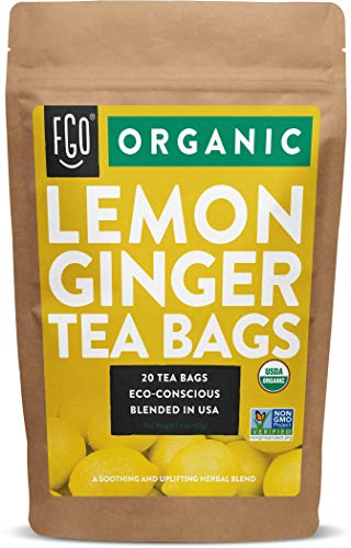 Organic Lemon Ginger Tea Bags | 20 Tea Bags | Eco-Conscious Tea Bags in Kraft Bag | by FGO