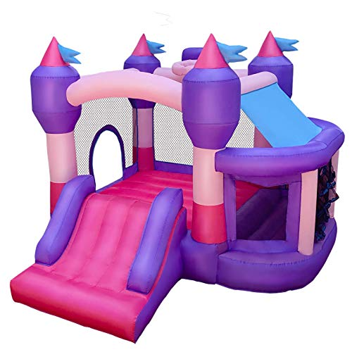 RETRO JUMP Inflatable Kids Bounce House, Princess Bounce Castle, Bouncy Jumper with Bouncing Ball Pit & Basketball Rim, Ocean Balls, Blower, Stakes, Repair Kits, Storage Bag Included