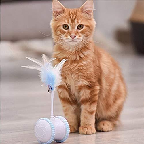 WEIMIN Interaktives katzenspielzeug Elektrischer, Automatischer Drehender Katzenball mit LED-Lichtspielzeug und Zwei Federn, Katzen Roller Ball Intelligenzspielzeug für Kätzchen