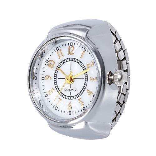 Cramberdy Unisex Ringuhr Fingeruhr Uhrenring silberfarbe Uhr Damen Armbanduhr Mädchen Mode Analog Quarzuhr Frauen Uhren Damen Uhrenring