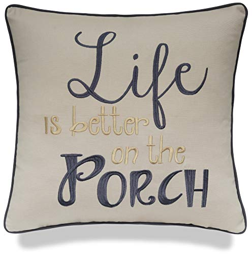 YugTex Life is Better On The Porch Embroidered Cotton Decorative Square Accent Throw Pillow Cover - Decor for Couch, Porch, New Home - 18x18 Inches, Natural