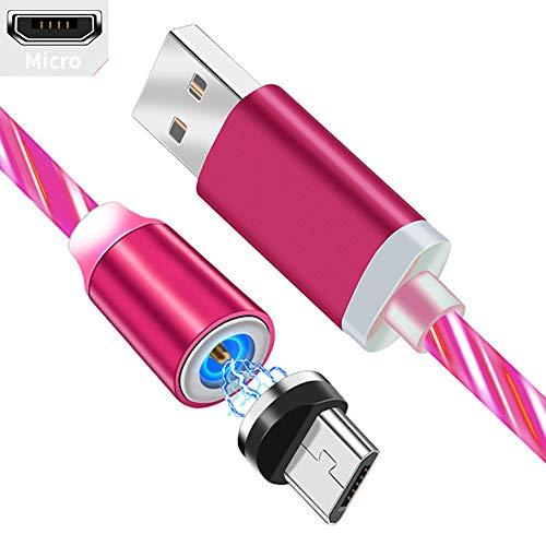 UGI Micro-USB-Magnetkabel, 6.6ft Creative LED Fließendes Licht USB-Magnetladekabel Kompatibel mit Samsung Galaxy Note S7 S6,Kindle,Huawei,Xperia Z3 Z5 Weitere Micro-USB-Geräte -Rot