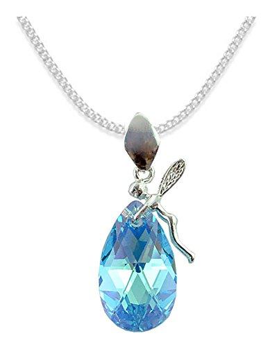 *ALMOND* *MANDEL* Elf Stil Swarovski Elements - Farbe *Aquamarine AB* Schön Damen Halskette - Anhänger Halskette Schmuck Mutter Geschenk mit Kristallen von Swarovski