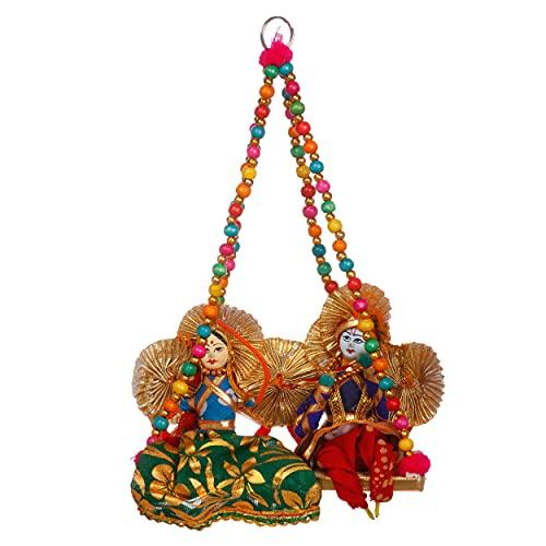 JH Gallery Handmade Recycled Material Radha Krishna Door Hangings, Wall hangings Jhula (30 cm, JHG009) (Pack of 1)