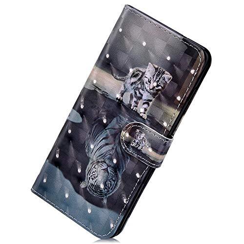 Herbests Kompatibel mit Samsung Galaxy S10 Handy Hülle Handytasche Leder Hülle Bunt Glitzer Bling Glänzend Leder Schutzhülle Flipcase Brieftasche Wallet Tasche,Tiger Katze