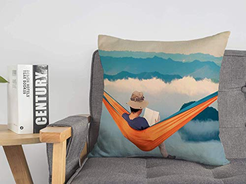 Throw Pillow Cover Reflection View Man Morning Hammock Sunrise Cloud Forest Dense at Fog Beauty Evening Nature People Soft Linen Decorative Pillows Cushion Cover for Couhc Bed 16x16 Inch