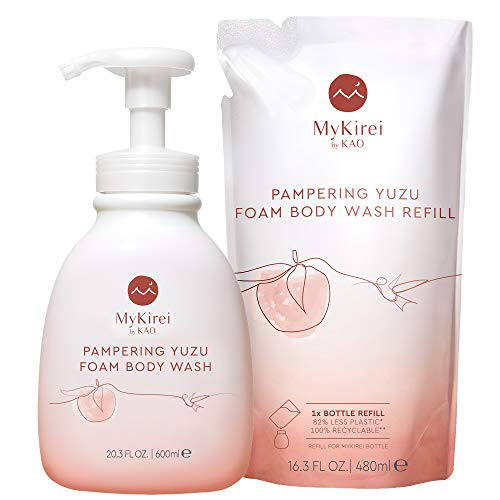 MyKirei Moisturizing Foam Body Wash with Pump and Refill, Daily Nourishment for Dry Skin, Gentle Hydration with Japanese Yuzu, Paraben Free, Cruelty Free, 20.3 Ounce Pump + 16.3 Ounce Refill
