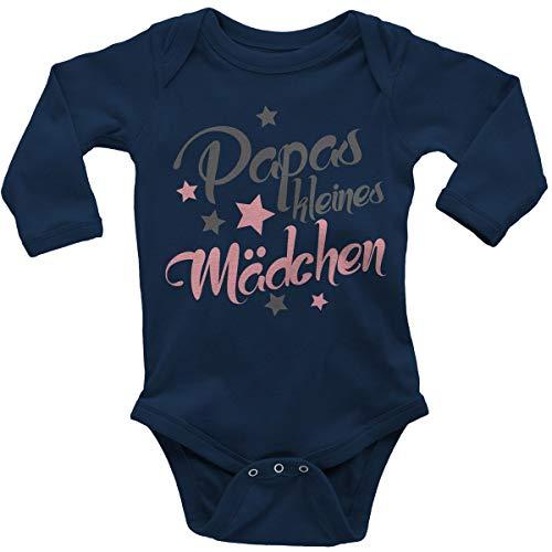 Mikalino Babybody mit Spruch für Mädchen Unisex Langarm Papas kleines Mädchen | handbedruckt in Deutschland | Handmade with Love, Farbe:Navy, Grösse:74