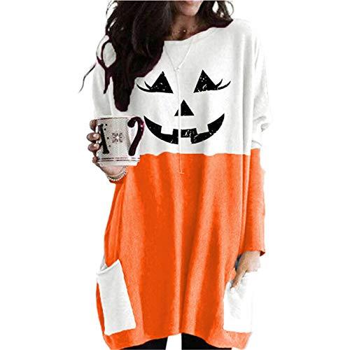 WLZQ Otoño/Invierno Mujer Halloween Calabaza Cara Estampado Contraste Cuello Redondo Top