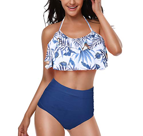 Two Piece Bathing Suits for Womes, Colorful Floral Printing T-Back Beach Tankini Swimsuits for Juniors XL Coconut + Blue