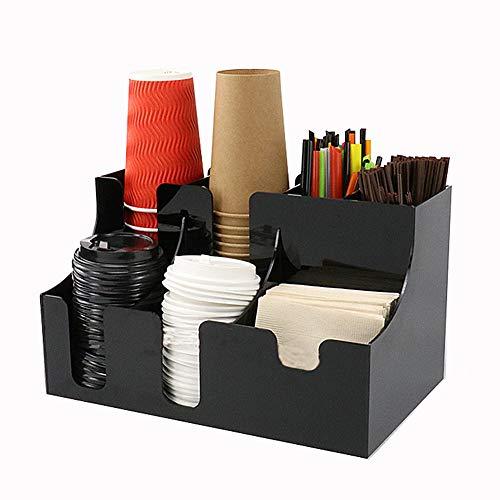 HOUSHIYU-521 Organizador De Café Y Estación De Condimentos 7 Compartimentos, Material Acrílico, Hogar, Oficina Y Sala De Descanso, Negro
