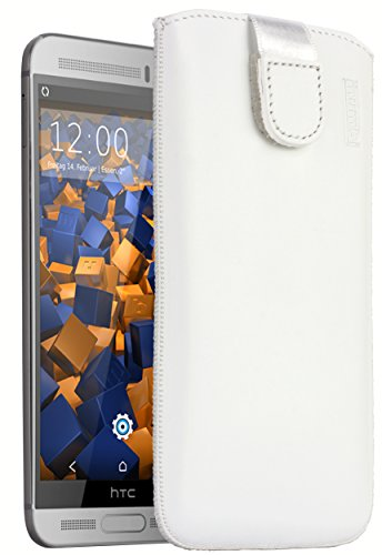 mumbi Echt Ledertasche kompatibel mit HTC One M9 Plus Hülle Leder Tasche Hülle Wallet, Weiss