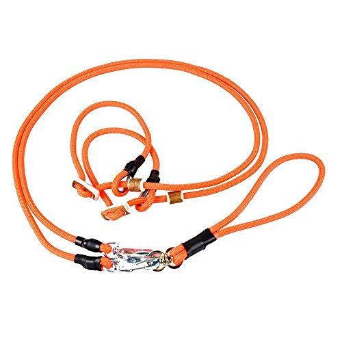 Romneys Moxonleine für Zwei Hunde | Hundeleine Twin | Zum einfachen Führen von Zwei Hunden gleichzeitig (orange)