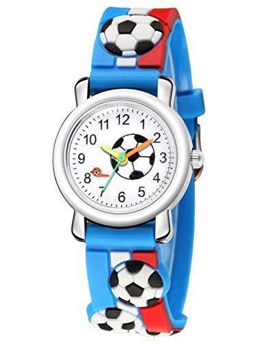 KDM Kinderuhr Mädchen Kinderuhren Uhren Mädchen Jungen Wasserdicht 3D Niedlich Cartoon Armbanduhr Zeit Lehrer Gummi Analoge Uhren Analoge Uhren Für Kinder Jungen Mädchen Blau