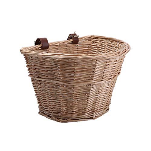 Bireegoo 1 x gewebter Fahrradkorb im Vintage-Stil, Weidenkorb für Fahrrad, Gemüse, Korb mit Lederriemen (36 x 26 x 22 cm)