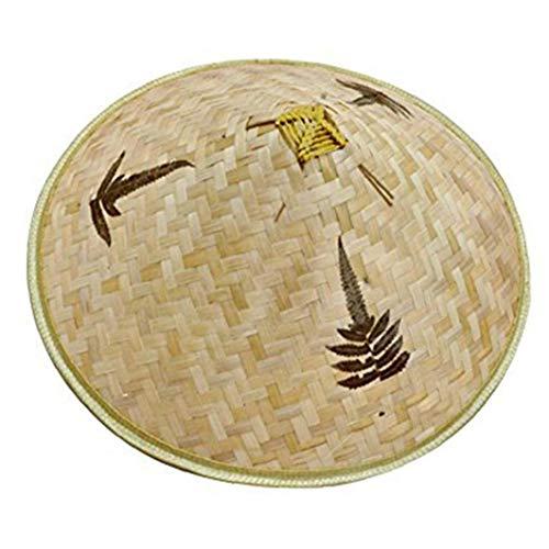 linjunddd Retro Chinesischer Bambus Rattan Fischer-Hut Handgemachte Webart-wannen-Hut Natürliches Aushöhlen Lattice Bambus Braid Kappen-fischen-Sonnenschutz-Hut Convenient Versorgungs