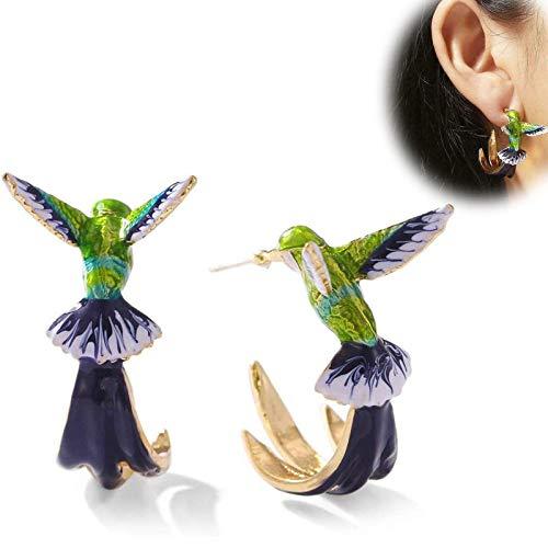 WENLIANG Niedliche Kolibri-Ohrringe, Kreativ, Mehrfarbig, Modisch, Unisex, Party-Schmuck, Geschenke A
