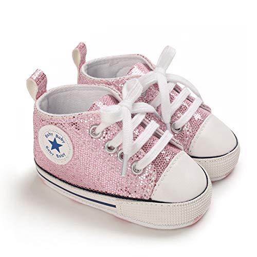 DEBAIJIA Babyschuhe Kleinkind Lauflernschuhe 12-18M Kinder Schuhe Jungen Turnschuhe Mädchen Leichtes Weiche Sohle 20 EU Pink (Etikettengröße 3)