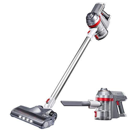 Cordless Vacuum, 4 in 1 Stick Vacuum Cleaner Lightweight & Ultra-Quiet Handheld Vacuum for Car Pet Hair Carpet Hard Floor, Silver