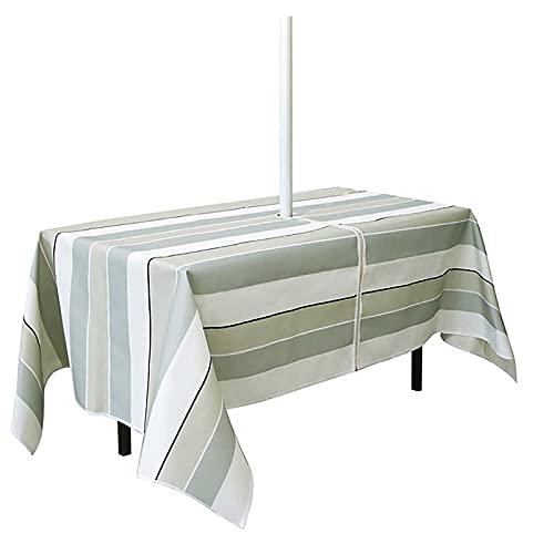 WUHNGD Mantel de patio con agujero para sombrilla y cremallera, resistente al agua, tela Oxford, decoración de mesa al aire libre, para patio, jardín, fiesta y barbacoa