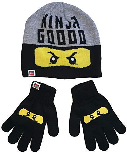 Coole-Fun-T-Shirts Kinderset muts + handschoenen Ninja Goooo 52 cm hoofdomtrek