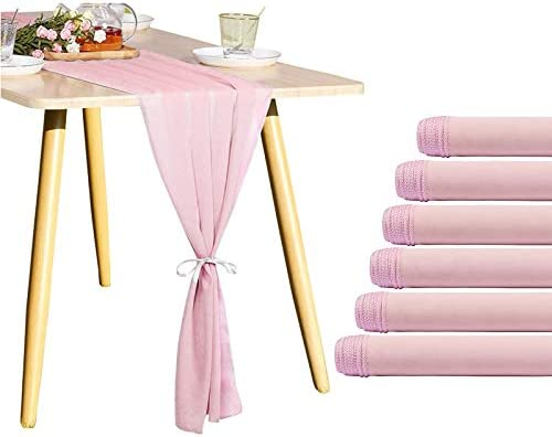 YMHPRIDE 6 PCS Table Runners Blushing Pink 10Ft Chiffon Table Runner 28x120 Inches for Wedding product image