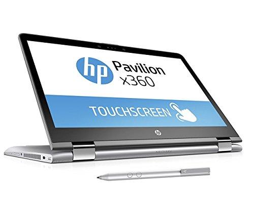 HP Pavilion x360 14-ba026ng (14 Zoll FHD Touchscreen) Convertible Laptop (Intel Core i3-7100U, 8GB RAM, 256GB SSD, Intel HD-Grafikkarte 620, Windows 10 Home 64) silber