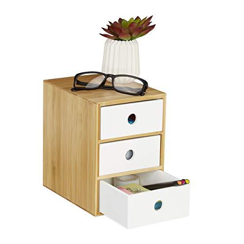 Relaxdays Organizador de Escritorio con 3 cajones, bambú y MDF, Caja de Almacenamiento para Oficina, 21 x 14,5 x 20 cm, Color Blanco, 1 Unidad