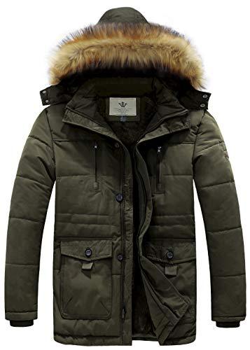 WenVen Men's Hooded Warm Coat Winter Parka Jacket (Army Green, Large)