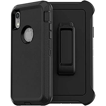 Black//Blue Dust-Proof iPhone XR Case,FOGEEK Belt Clip Holster Heavy Duty Kickstand Protective Cover Compatible for Apple iPhone XR 6.1 inch Shockproof