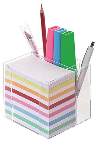 Wedo 270266916 Zettelbox (mit Stiftehalter, 9,5 x 9,5 cm) Kunststoff transparent gefüllt, circa 700 Blatt 5,5 x 9 cm) weiß