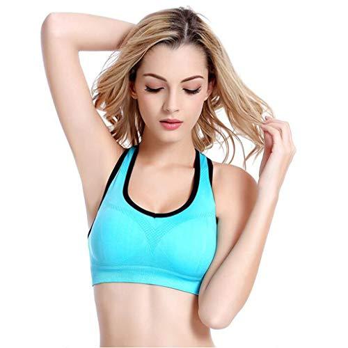 H.ZHOU Damen Sport-BH, Sport Unterwäsche Stoßfest Laufweste Mädchen-BH Yoga-Schlaf-BH Kein Stahlring (Color : Blue, Size : M)