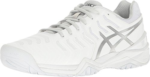 ASICS Men's Gel-Resolution 7 Tennis Shoe, White/Silver, 6 M US