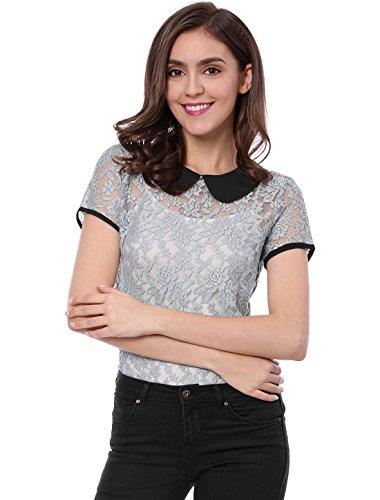Allegra K Damen Bubikragen Panel Colorblock Sheer Spitze Top Bluse Grau L