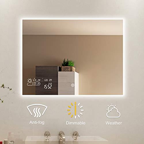 Badspiegel mit LED Beleuchtung Dimmbar Wandspiegel Badezimmerspiegel Lichtspiegel Bad Spiegel Touchschalter Smart WiFi Antibeschlag Uhr Wetter Datum Temperatur Luftfeuchtigkeit-Horizontal 80x60CM
