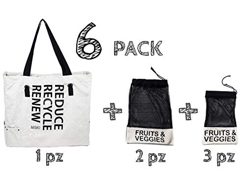 Bolsa ecológica de tela para supermercado reutilizable. Incluye bolsas para frutas y verduras. Ideal para tus compras de super, color beige