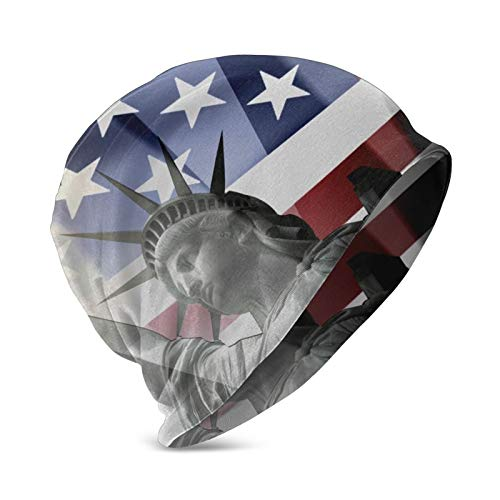 GARDE ART STUDIO Patriotic Statue of Liberty with American Flag Skull Cap Beanie Hat Soft Cozy Oversized Baggy Sleep Cap for Women Men Breathable Cap for Daily Wear Travel Hiking Cycling