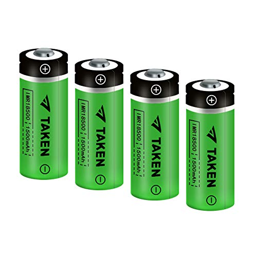 18500 Rechargeable Batteries, TAKEN IMR 18500 1500mAh 3.7V Li-ion Rechargeable Battery with Button Top - 4 Pack