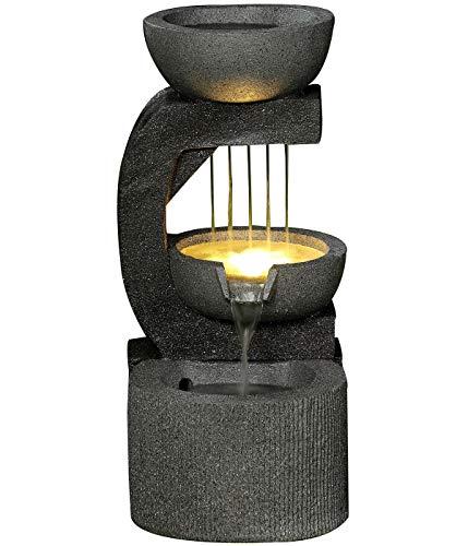 Dehner Gartenbrunnen Salerno mit LED Beleuchtung, ca. 69.5 x 33 x 42.5 cm, Polyresin, dunkelgrau