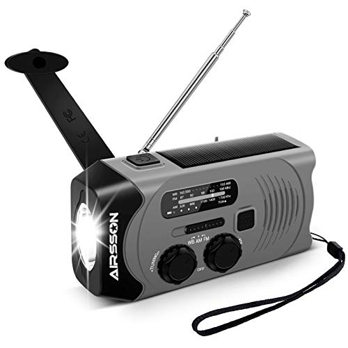 Outdoor Solar Radio, Multifunktion Tragbares Outdoor Radio Kurbelradio für Notfälle,mit AM/FM Wetter Radio, mit LED Taschenlampe und 2000mAh Eingebaute Batterie Power Bank, Notfall SOS Alarm (schwarz)