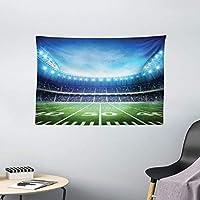 アメリカンスタジアムのサッカータペストリー写真グリーングラスアリーナプレイグラウンドブリーチャーズイベントマッチ寮60X40インチの広い壁掛け
