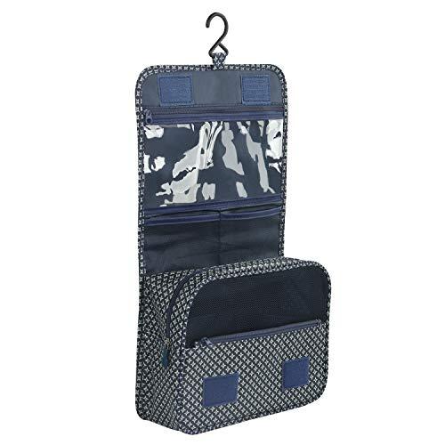 Discoball Trousse de toilette et maquillage portable et pliable pour voyages Trousse de toilette à crochet Navy Blue Star