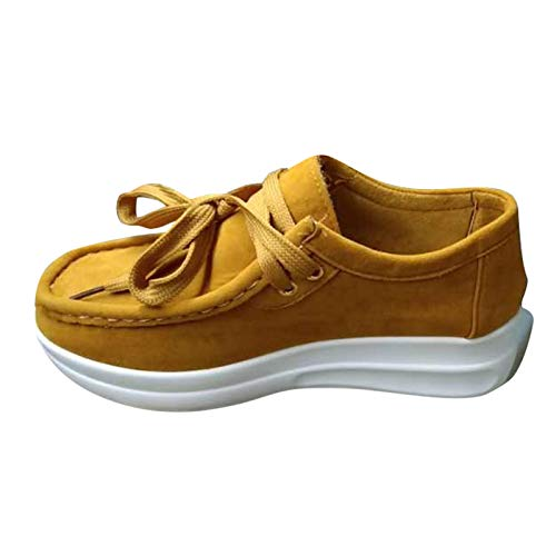 URIBAKY - Zapatos planos de piel mocasines con fondo blando, zapatillas de running en carretera, exterior, running, fitness, transpirables, Amarillo (amarillo), 40 EU
