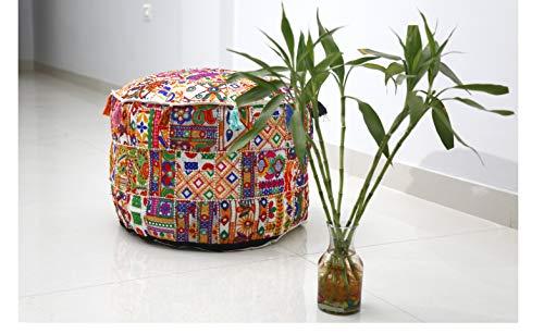 Trade Star - Puf indio hecho a mano con diseño de patchwork, funda de cojín con apliques étnicos, taburete bordado vintage, decoración del hogar, funda otomana, Pattern 5, 18X18X14 Inches