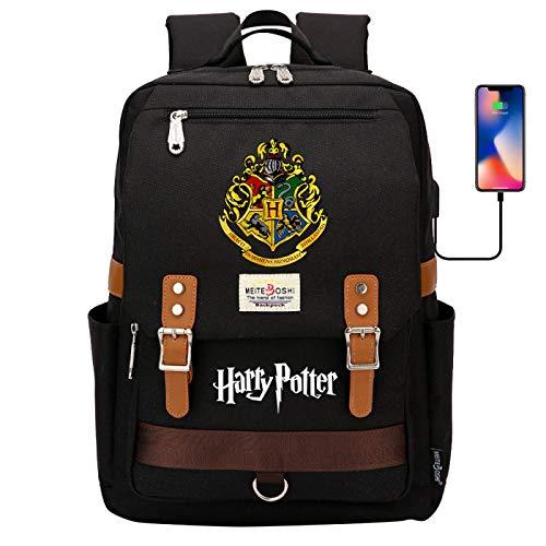 DDDWWW Hogwarts School Bag,Retro Casual Backpack,Harry Potter Rucksack Computer Bag with USB Port 42CM/30CM/16CM Black
